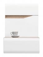 Závěsný noční stolek levý LIONEL - dub sonoma truflový/bílý lesk