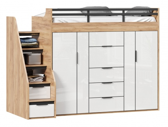 Vyvýšená postel s úložným prostorem Trendy 90x200cm - dub zlatý/bílá