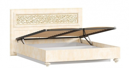 Manželská postel 140x200cm Sofia s klasickým čelem, úl. boxem a výklop. roštem - béžová/lento