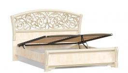Manželská postel 140x200cm Sofia s ornamentálním čelem, úl. boxem a výklop. roštem - béžová/lento