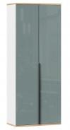 Dvoudveřová šatní skříň Trendy - bílá/šedomodrá/růžová
