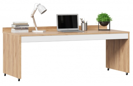 Výsuvný stůl k vyvýšené posteli Trendy - dub zlatý/bílá