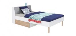 Dětská postel Rasmus 90x200cm - bílá/šedá/dub artisan