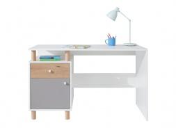 Psací stůl Rasmus - bílá/šedá/dub artisan