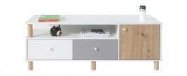 Televizní stolek Rasmus - bílá/šedá/dub artisan