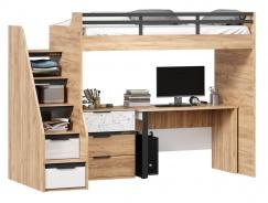 Vyvýšená postel Trendy 90x200cm se stolem a komodou - dub zlatý/bílá