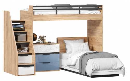 Dětská patrová postel Trendy 90x200cm s komodou - dub zlatý/bílá/modrá