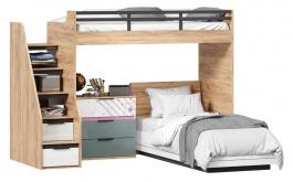 Dětská patrová postel Trendy 90x200cm s komodou - dub zlatý/bílá/šedomodrá/růžová