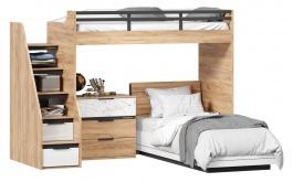 Dětská patrová postel Trendy 90x200cm s komodou - dub zlatý/bílá