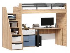 Vyvýšená postel Trendy 90x200cm se stolem a komodou - dub zlatý/bílá/modrá