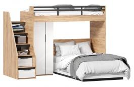 Patrová postel Trendy 90x200cm-120x200cm se skříní - dub zlatý/bílá