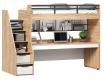 Vyvýšená postel Trendy 90x200cm s výsuvným stolem a policí - dub zlatý/bílá