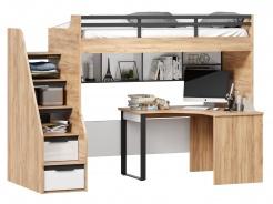 Vyvýšená postel Trendy 90x200cm s rohovým stolem a policí - dub zlatý/bílá
