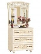 Zásuvková komoda Sofia III s ornamentálním zrcadlem - béžová/lento