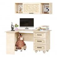 Rohový levý PC stůl se závěsnou skříňkou Sofia - béžová/lento