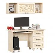 Rovný PC stolek se závěsnou skříňkou Sofia - béžová/lento