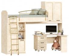 Patrová postel 80x190cm s rohovým stolem Sofia - béžová/lento