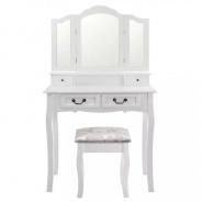 Toaletní stolek s taburetem, bílá/stříbrná, REGINA
