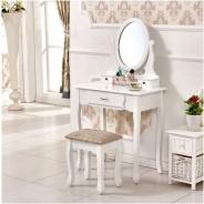 Toaletní stolek s taburetem, bílá / stříbrná, LINET