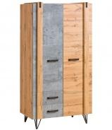 Dvoudveřová šatní skříň Dorian - beton/dub wotan