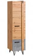 Jednodveřová šatní skříň Dorian - beton/dub wotan