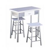 Barový set - stůl + 2 židle, stříbrná / bílá, HOMER
