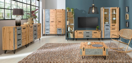 Obývací pokoj Dorian III - beton/dub wotan