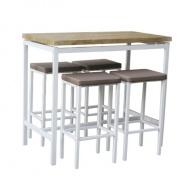 Barový jídelní set, 1 + 4, bílá / dub sonoma / hnědá, Lucero