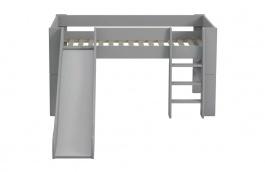 Dětská vyvýšená postel se skluzavkou Dany 90x200 - šedá