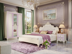 Malá ložnice Comtesa - alabastr/fialová/champagne