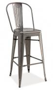 Barová kovová židle LOFT H-1 kartáčovaná ocel