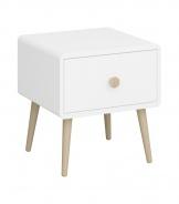 Noční stolek se šuplíkem Mokiana - bílý/masiv