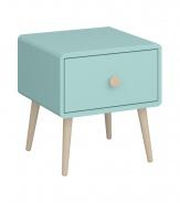 Noční stolek se šuplíkem Mokiana - mintová/masiv