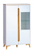 Široká vitrína Naira - bílá/jasan
