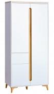 Dvoudveřová šatní skříň Naira - bílá/jasan
