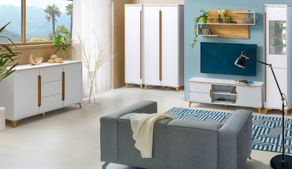 Obývací pokoj Naira II - bílá/jasan
