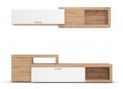 Dvoudílná obývací stěna Rico - dub artisan/bílá