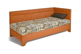 Čalouněná postel s čely ERIKA 90x200- látka 203/195