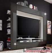 luxusní TV a media stěna, černá / extra vysoký lesk, MEDI TV