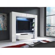 Luxusní TV a media stěna, bílá / bílý extra vysoký lesk s LED osvětlením, MONTEREJ