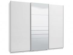 Třídveřová posuvná skříň se zrcadlem Auri 270 - bílá/bílá lesk