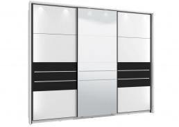 Skříň s posuvnými dveřmi Marat 270 s osvětlením – bílá/černá
