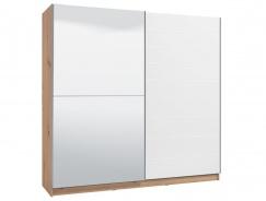 Dvoudveřová posuvná skříň se zrcadlem Auri 220 - dub artisan/bílá