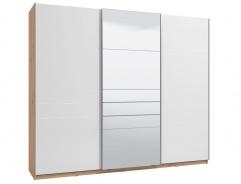 Třídveřová posuvná skříň se zrcadlem Auri - dub artisan/bílá