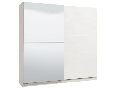 Dvoudveřová posuvná skříň se zrcadlem Auri 220 - bílá/bílá lesk