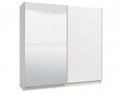 Dvoudveřová posuvná skříň se zrcadlem Auri - bílá/bílá lesk