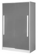 Šatní skříň s posuv. dveřmi GULLIWER 12 bílá/šedá lesk