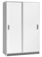 Šatní skříň s posuv. dveřmi TRAFICO 14 bílá/popel