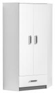 Rohová šatní skříň TRAFICO 2 bílá/popel