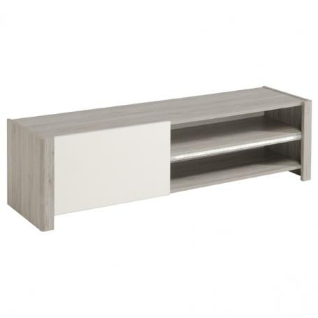 Televizní stolek Clif - dub šedý/bílý lesk